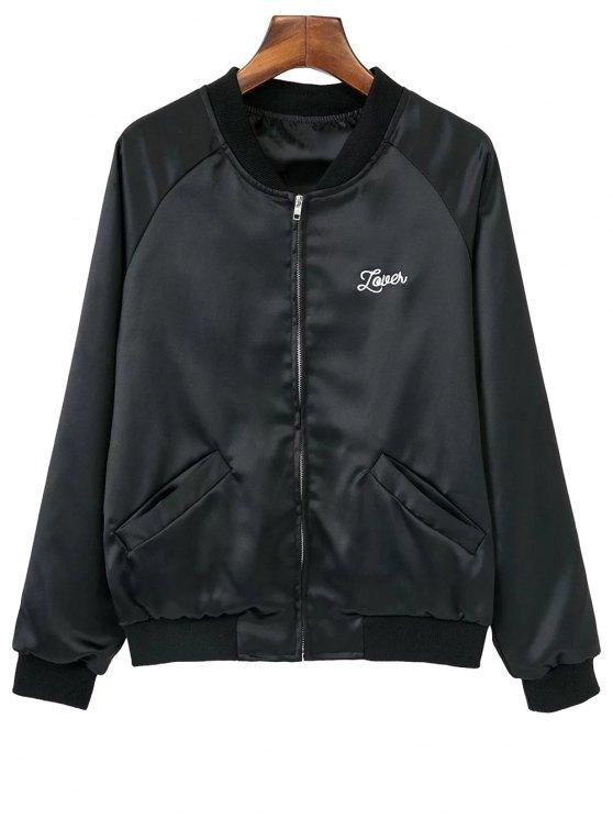 Bordado del amor del corazón de la chaqueta de bombardero - Negro S