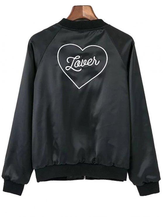 Love Heart Embroidered Bomber Jacket - BLACK S Mobile