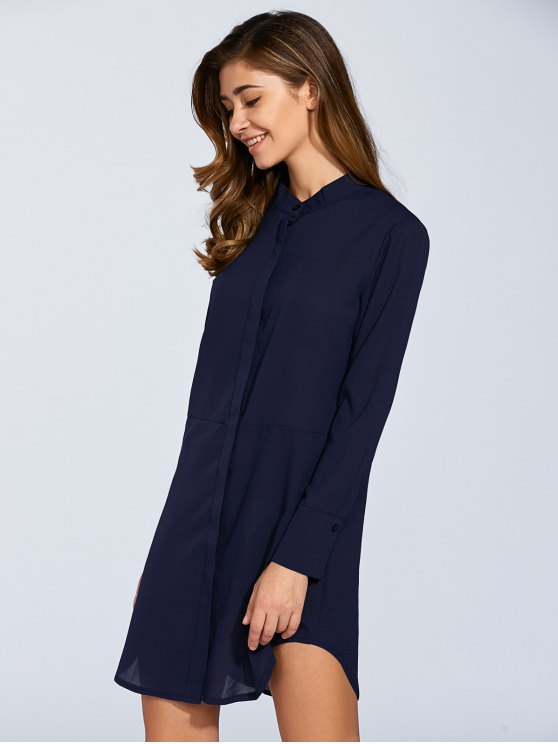 Long Sleeves Straight Button Up Tunic Shirt Dress - BLUE M Mobile