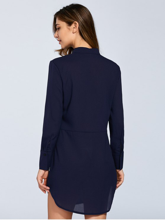 Long Sleeves Straight Button Up Tunic Shirt Dress - BLUE L Mobile