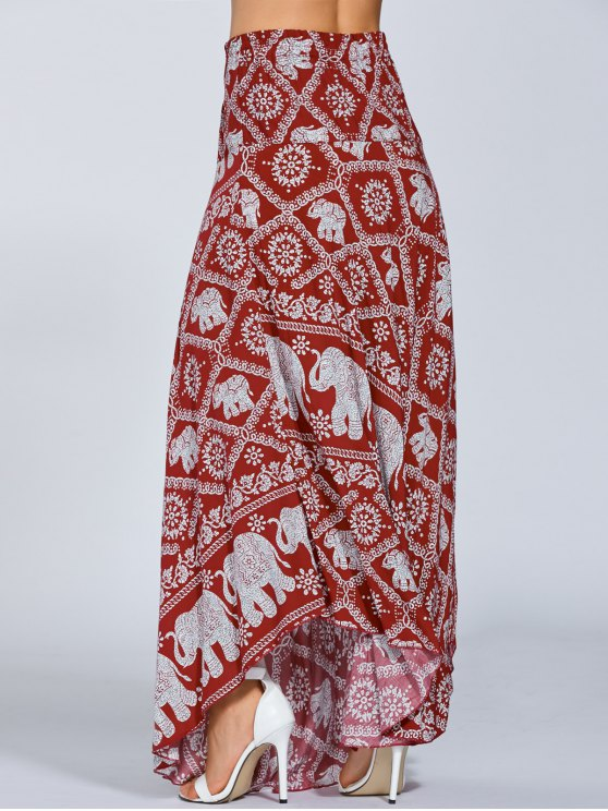 Maxi Boho African Print Skirt - RED ONE SIZE Mobile