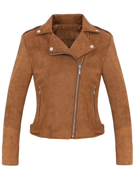 hot Cropped Faux Suede Biker Jacket - BROWN M
