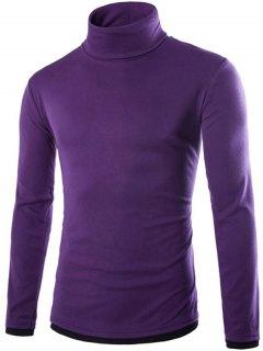 Faux Twinset Design High Neck Long Sleeve Knitwear - Purple M
