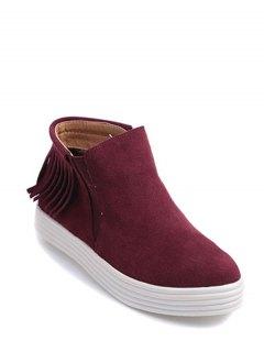 Fringe Elastic Band Flat Heel Boots - Claret 38