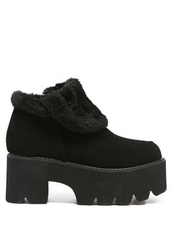 Chunky Heel Zipper Platform Ankle Boots - Black 37