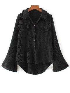 Bouton Crépus De Bell Sleeve Up Blouse - Noir S