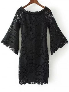 Bell Sleeve Crochet Bodycon Dress - Black S