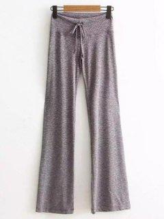 Marled Wide Leg Palazzo Pants - Light Gray S