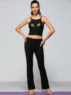 Wings Print Yoga Tank Top + Pants - Black