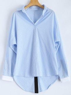 Lâche Rayé Slit Shirt - Bleu Et Blanc L