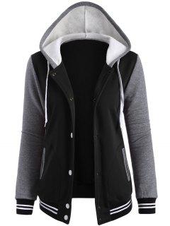 Varsity Baseball Fleece Hoodie Jacket - Black M