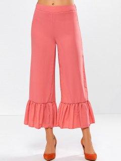 Wide Leg High Rise Pants - Red Orange L