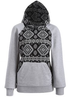 Jacquard Tribal Hoodie - Black And Grey M