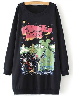 Oversized Fleece Long Sweatshirt - Black
