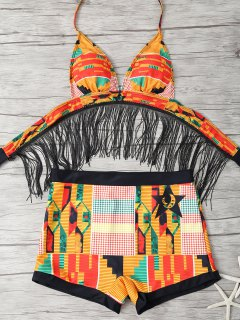 Fringed Printed Cut Out African Print Bathing Suit - Multicolor S