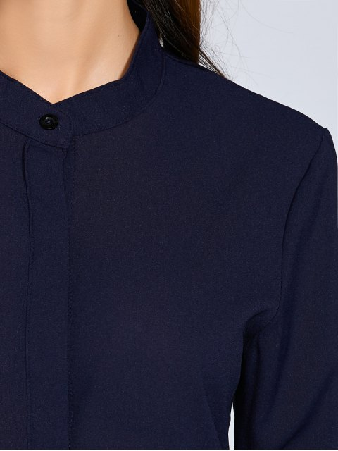 new Long Sleeves Straight Button Up Tunic Shirt Dress - BLUE M Mobile