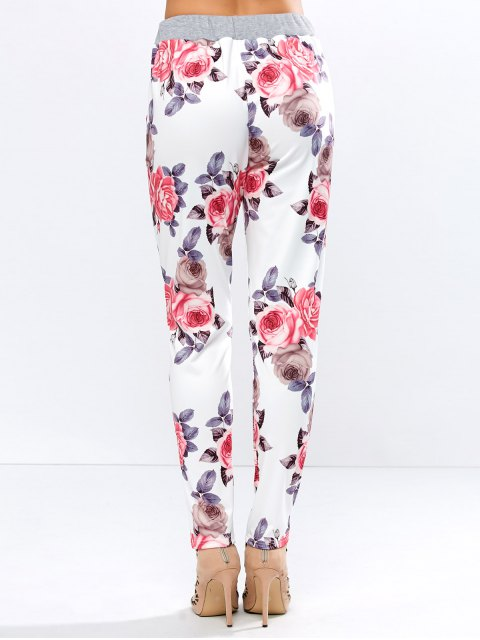 buy Floral Print Drawstring Narrow Feet Pants - FLORAL M Mobile