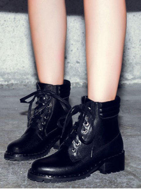 fashion Lace-Up Rivets PU Leather Ankle Boots - BLACK 39 Mobile