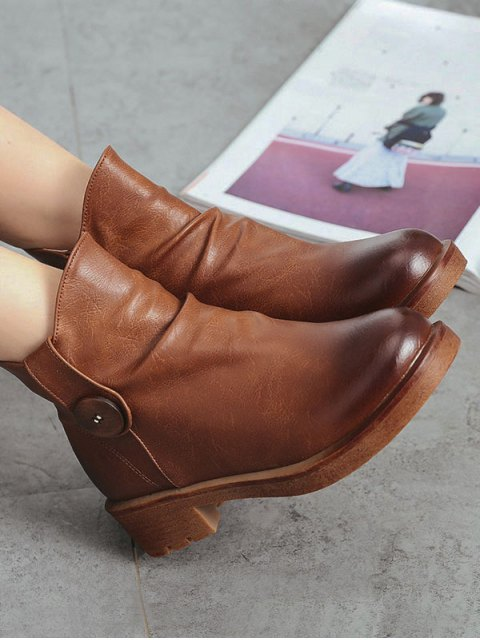 women's Button Chunky Heel Zipper Ankle Boots - BROWN 39 Mobile
