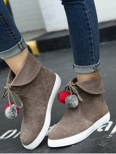 hot Pompon Flat Heel Tie Up Short Boots - DARK KHAKI 39 Mobile