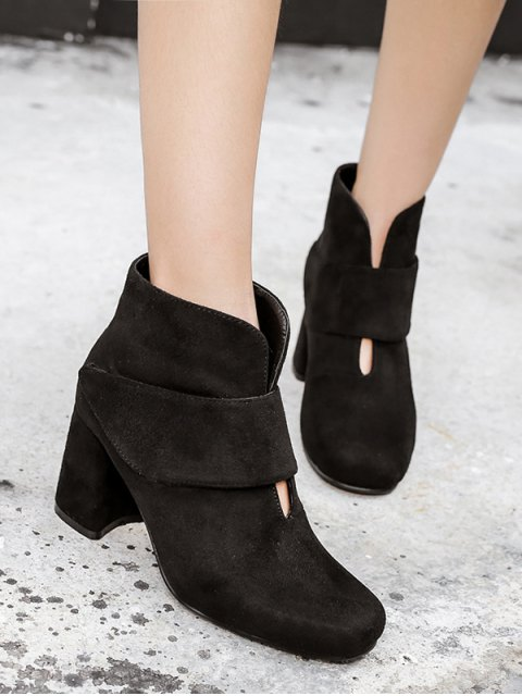 trendy Round Toe Chunky Heel Flock Ankle Boots - BLACK 39 Mobile