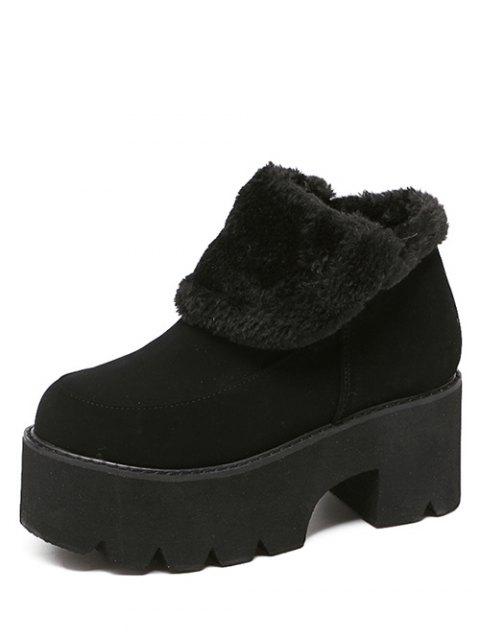 ladies Chunky Heel Zipper Platform Ankle Boots - BLACK 38 Mobile