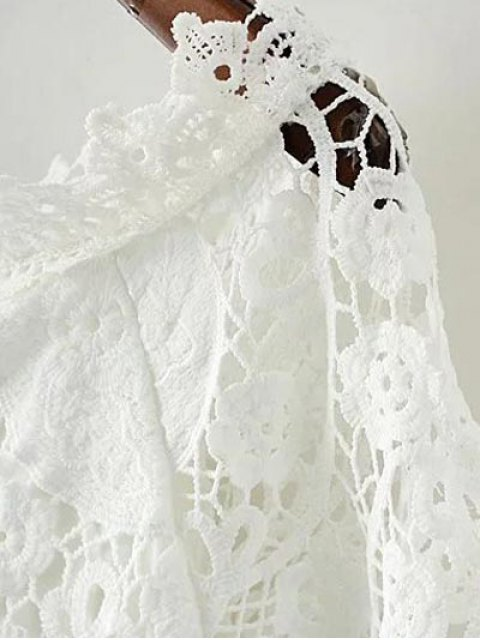 fancy Bell Sleeve Crochet Bodycon Dress - BLACK L Mobile