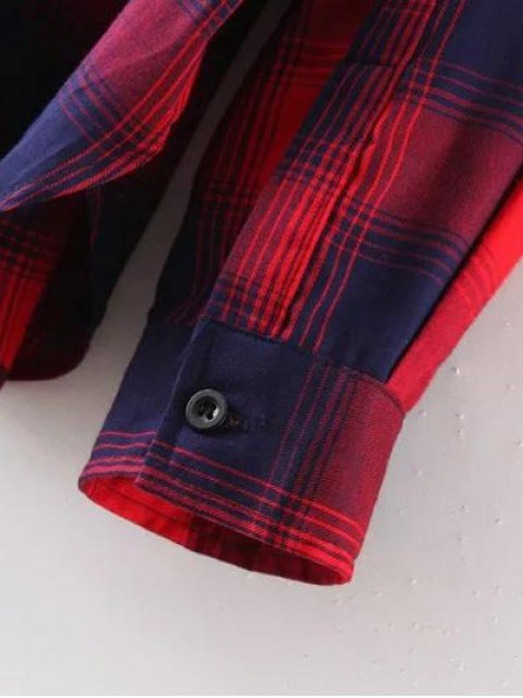 shops Checked Patch Pocket Shirt - RED M Mobile