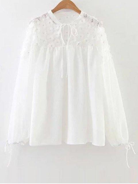 sale Flower Appliqued Blouse - WHITE S Mobile