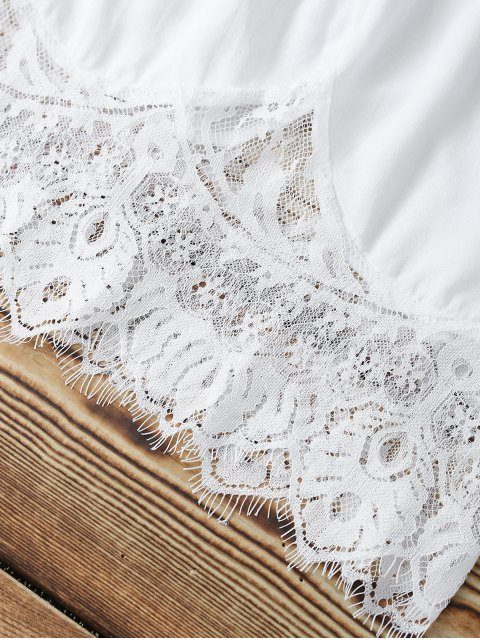fashion Combined Lace White Crop Top - WHITE S Mobile