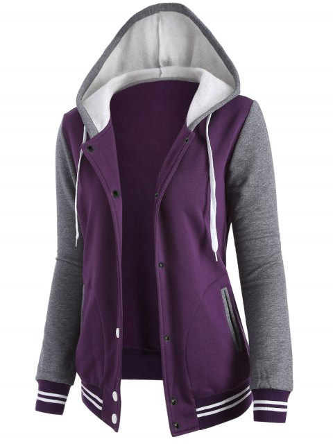 outfit Varsity Baseball Fleece Hoodie Jacket - PURPLE L Mobile