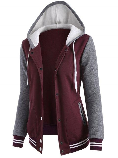 trendy Varsity Baseball Fleece Hoodie Jacket - WINE RED M Mobile