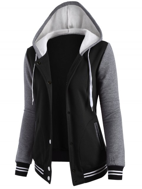women Varsity Baseball Fleece Hoodie Jacket - BLACK S Mobile