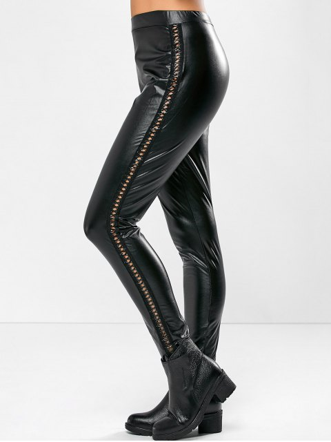outfit PU Leather Openwork Leggings - BLACK XL Mobile