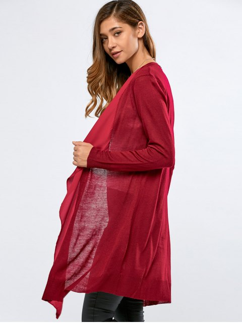 shop Chiffon Spliced Fitting Cardigan - RED L Mobile