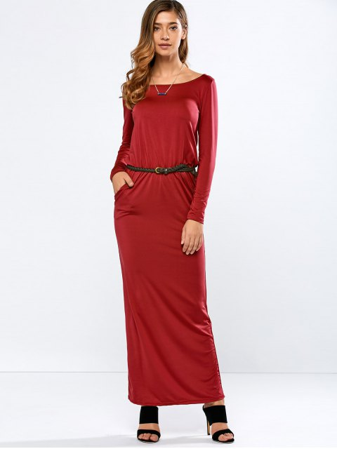 trendy Maxi Belted Dress - RED S Mobile