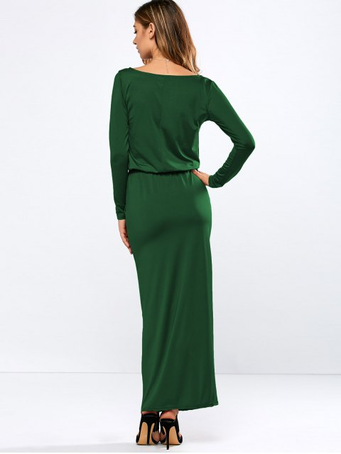 affordable Maxi Belted Dress - GREEN L Mobile