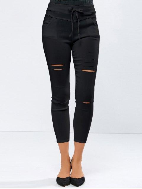 unique Ripped Skinny Ninth Pants - BLACK L Mobile