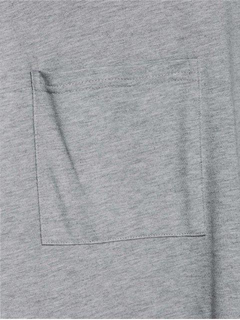 unique Plus Size Asymmetric One Pocket Blouse - LIGHT GRAY XL Mobile