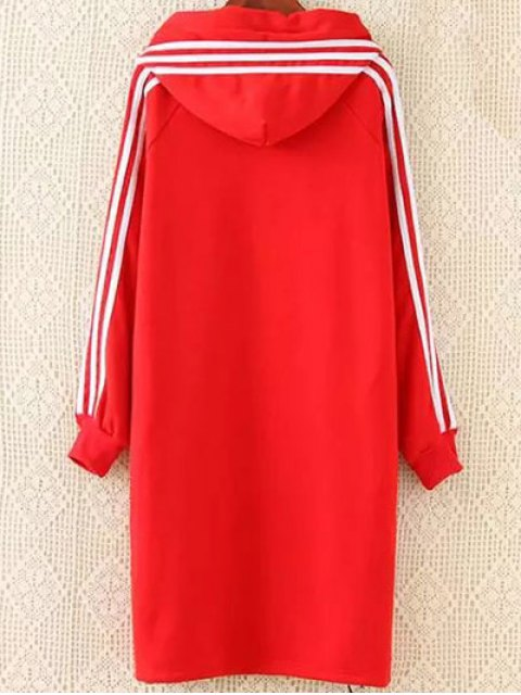 fancy Plus Size Tape Sleeve Hoodie Dress - RED 2XL Mobile