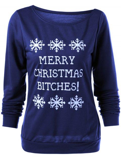 ladies Merry Christmas Snowflake Print Sweatshirt - DEEP BLUE S Mobile