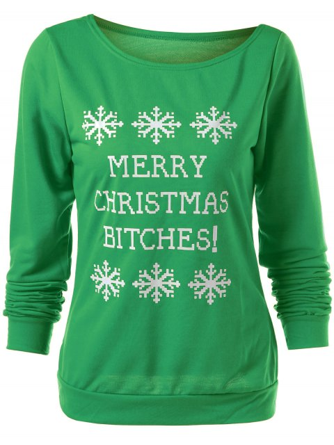 outfit Merry Christmas Snowflake Print Sweatshirt - GREEN L Mobile