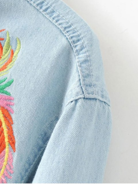 ladies Embroidered Yoke Denim Shirt - LIGHT BLUE S Mobile