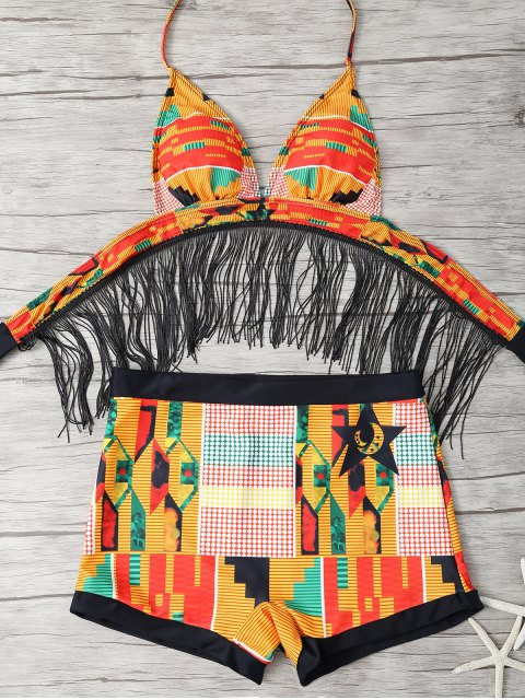unique Fringed Printed Cut Out African Print Bathing Suit - MULTICOLOR S Mobile