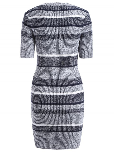 lady Short Sleeve Bodycon Sweater Dress - COLORMIX ONE SIZE Mobile