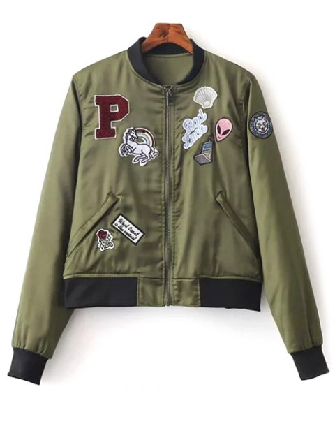 fashion Quilted Patched Bomber Jacket - GREEN S Mobile