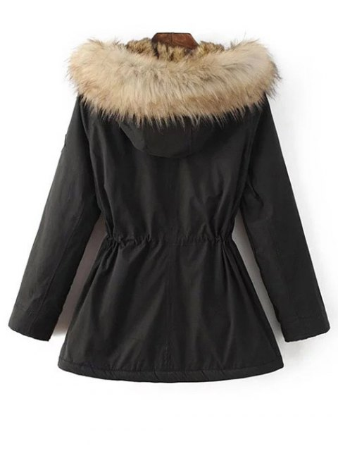 unique Faux Fur Lined Parka Coat - BLACK L Mobile