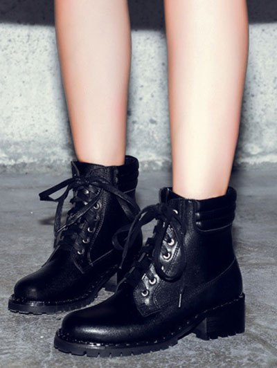 Lace-Up Rivets PU Leather Ankle Boots - BLACK 39 Mobile