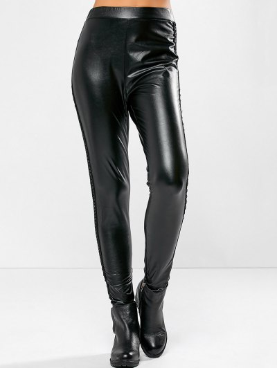 PU Leather Openwork Leggings - BLACK XL Mobile