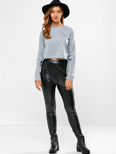 PU Leather Openwork Leggings - BLACK L Mobile
